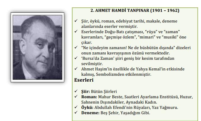 Ahmet Hamdi Tanmpınar özellikleri eserleri sanatçıaları